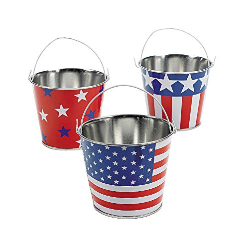 Fun Express Patriotic American Flag Buckets (Set of 12) Tin Pails for Fourth of July