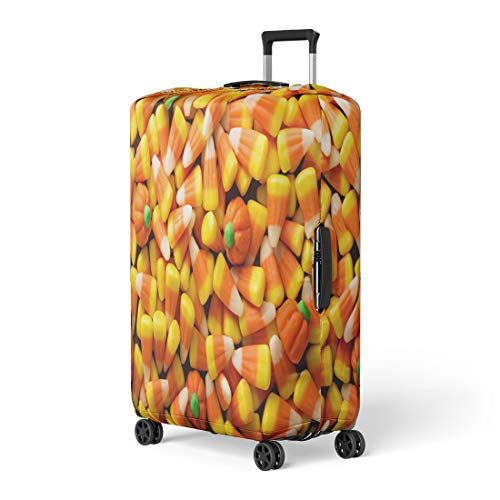 Pinbeam Luggage Cover Colorful Candy Corn and Pumpkin Halloween Overhead Shot Travel Suitcase Cover Protector Baggage Case Fits 22-24 -