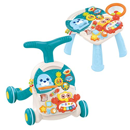 Baby Walkers and Activity Center, 2-in-1 Infant Sit to Stand Walkers Toys, Baby Fun Table with Music & Light, Learning Walker, for Age 3 Months Plus (Blue)