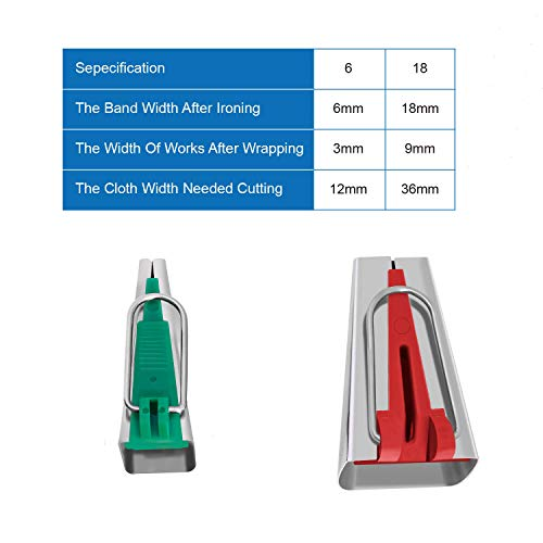 CETECK Single/Double Fold Bias Tape Maker Tool,6MM/18MMFabric Bias Tape Maker Tools 2 Sizes DIY Sewing Bias Tape Makers for Quilt Binding (OneSize, Red and Green)