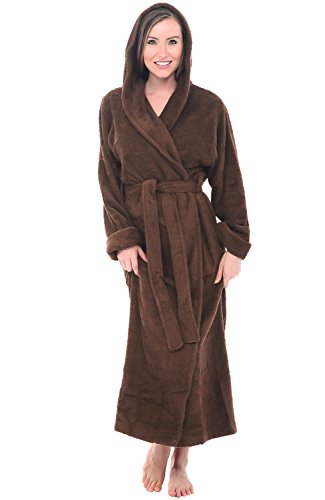 (Alexander Del Rossa Womens Turkish Terry Cloth Robe, Long Cotton Hooded Bathrobe, Large XL Chocolate Brown (A0127WCTXL) )
