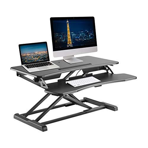 TechOrbits Rise-X Light Standing Desk Converter - Height Adjustable Stand Up Desk Riser - Sit to Stand Desktop Workstation - 32