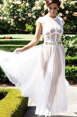 Blanco puro para vestido De fiesta muselina De seda De encaje largo vestido De fiesta Prom