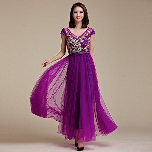 vestido Purple MEI Larga fiesta Noche Maxi vestido de elegante de mujer amp;S Prom Vintage xgqRgIa