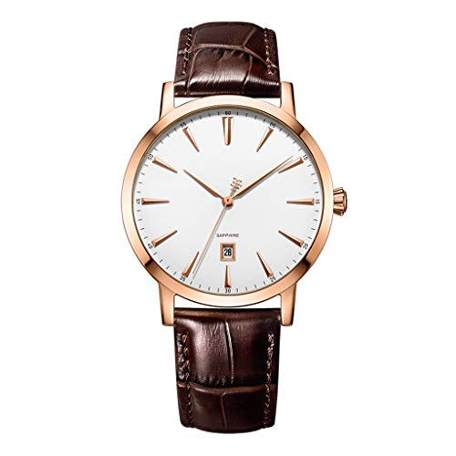 Couple Watches Fashion Men's Watch Ladies Watch Retro Leather Strap Waterproof Watch Calendar Function - Brown Men's Watch Calendar Brown Leather Strap