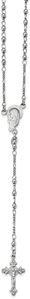 Jewel Tie Sterling Silver Polished Beaded Rosary 14.6mm