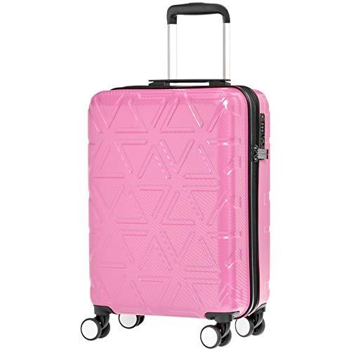 AmazonBasics Pyramid Hardside Carry-On Luggage Spinner Suitcase with TSA Lock - 20 Inch, Pink