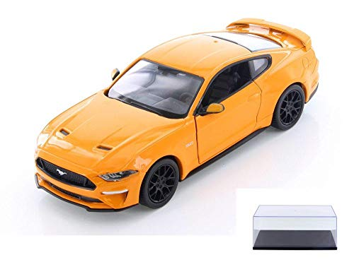 Showcasts Diecast Car & Display Case Package - 2018 Ford Mustang GT Hard Top, Orange 79352/16D - 1/24 Scale Diecast Model Toy Car w/Display ()