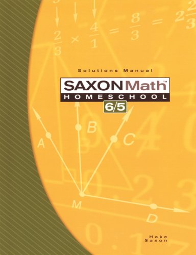 Saxon Math 6/5: Homeschool-Solutions Manual