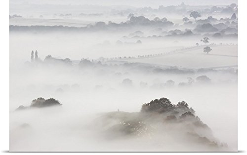 Great BIG Canvas Poster Print entitled Wearyall Hill from Glastonbury Tor, Somerset, UK by greatBIGcanvas