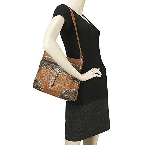 American West Women's Saddle Ridge Zip Top Shoulder Bag Chocolate One Size by American West (Image #1)