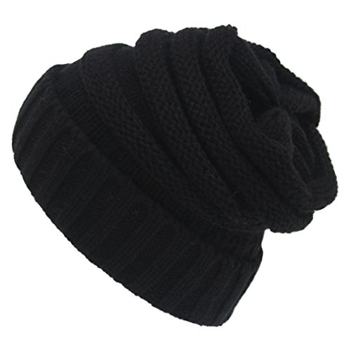 Sven Home Soft Slouchy Beanies knit Warm Winter Unisex Cap Thick Women's Men Hat Black