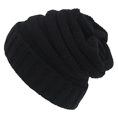 Sven Home Soft Slouchy Beanies knit Warm Winter Unisex Cap Thick Women's Men Hat Black