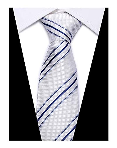 (Mens White and Navy Blue Tie Silk Luxury Unique Designer Cool Self Dress Necktie)