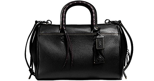 Nickel Pebbled Black Leather Glovetanned COACH Satchel in 58118 Handle with Antique Rogue Embellished qPvaaU5