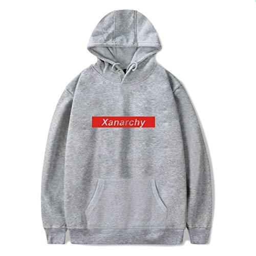 Felpa Streetwear Casuale Manica Felpe Uomo Hoodie Cappuccio Sweatshirt Pullover Pzj Stampato Lunga Con Grigio3 Giacca Hip Hop Xanarchy HdBPHqUWz