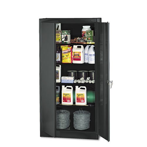 Tennsco Standard Black Storage Cabinet - 36 X 18 X 72 - Steel Nylon - 5 X Shelf[ves] - Heavy Duty Adjustable Shelf Locking Door Hinged Door Reinforced Carrying Handle Durable - by Tennsco
