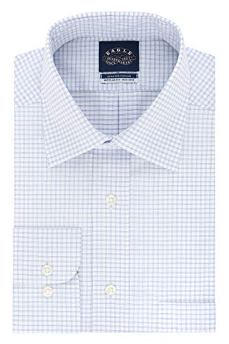 - Eagle Men's Dress Shirt Non Iron Stretch Collar Regular Fit Check, Light Blue, 15.5
