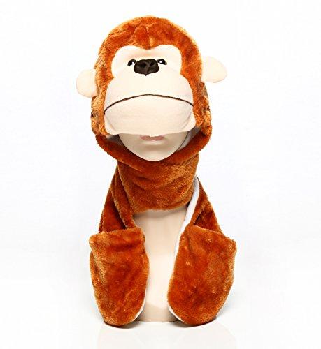 PULAMA Novelty Animal HAT Cosplay CAP - Unisex Fit Adult & Children- Soft Warm Headwraps Headwear with Mittens - Hat Adult Monkey