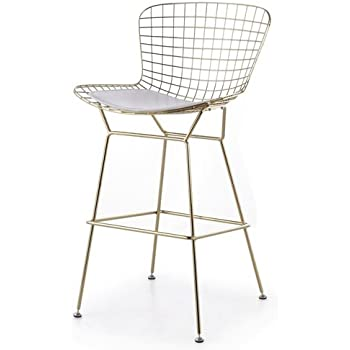 Peachy Amazon Com Bertoia Style Wire Counter Stool In Gold Finish Theyellowbook Wood Chair Design Ideas Theyellowbookinfo