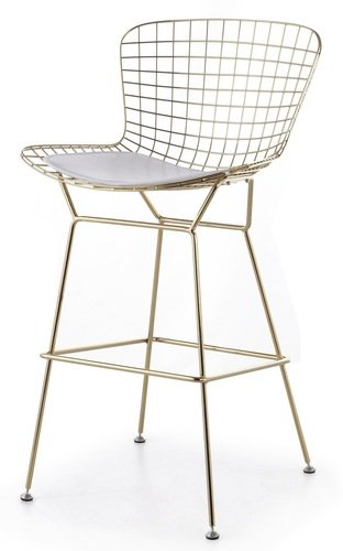 Bertoia Style Wire Counter Stool in Gold Finish White Pad