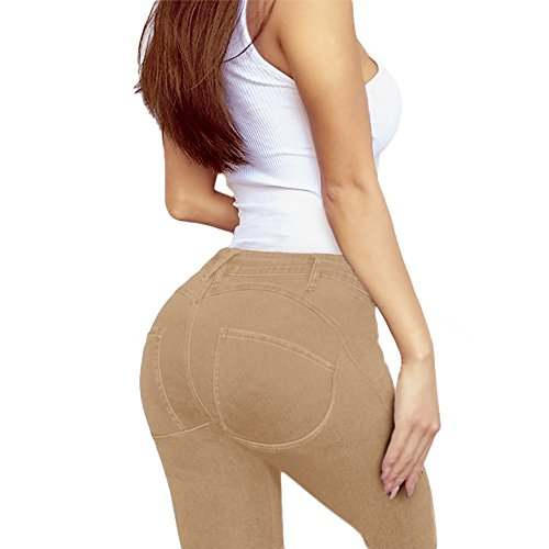 Women's Extreme Butt Lift Stretch Denim Jeans P46862SK Beige/Khak 7
