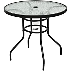 Black Round Patio Glass Top Table With Umbrella Hole Tempered Glass Steel Frame Outdoor Lawn Garden Backyard Yard Pool Side Furniture Décor Decoration UV Resistant And Waterproof Stylish Design