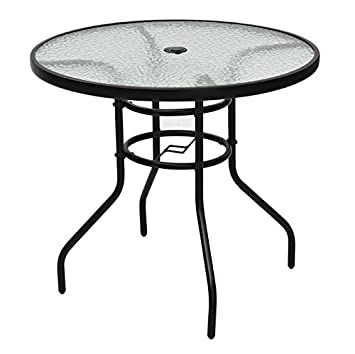 Black Round Patio Glass Top Table With Umbrella Hole Tempered Glass Steel  Frame Outdoor Lawn Garden