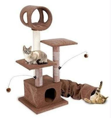 Penn Plax Cat Tower and Scratching Post Includes Tunnel and Cozy Hideaway with Hanging Cat Toys, 46 Inches High