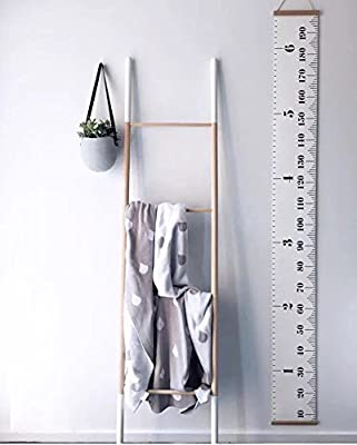 Miaro Kids Growth Chart, Wood Frame Fabric Canvas Height Measurement Ruler from Baby to Adult for Child's Room Decoration 7.9 x 79in