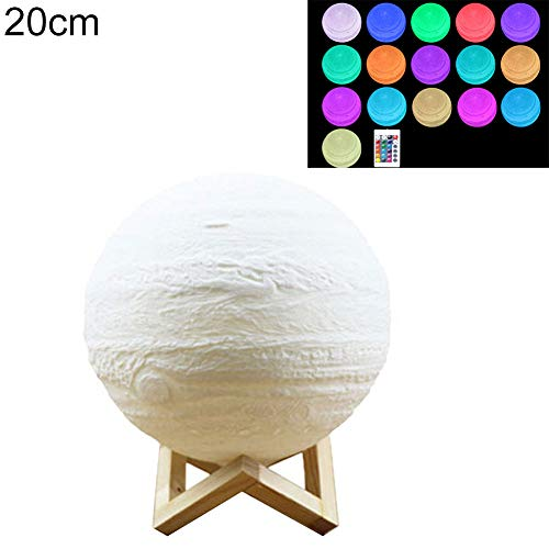 3D Print Jupiter Lamp Colorful Rechargeable LED Moon Light with Wooden Bracket £¬Christmas lights, christmas decoration£¬Arrive Before Christmas ()