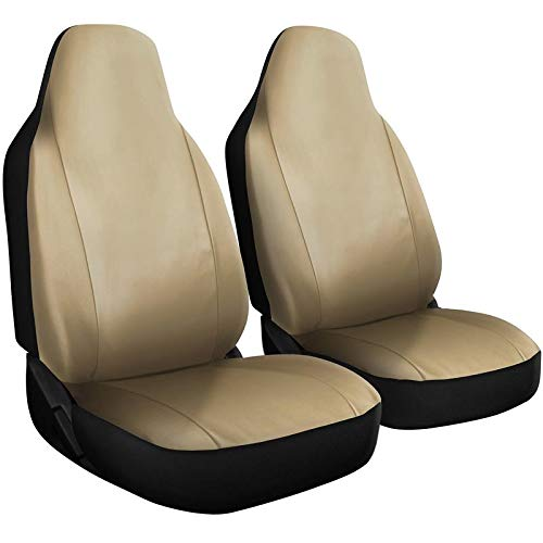 Motorup America Auto Seat Cover Set - Integrated High Back Seat - Mesh Covers Fits Select Vehicles Car Truck Van SUV - Beige
