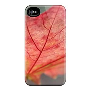 Anti-scratch And Shatterproof Beautiful Red Leaf Phone Case For Iphone 4/4s/ High Quality Tpu Case