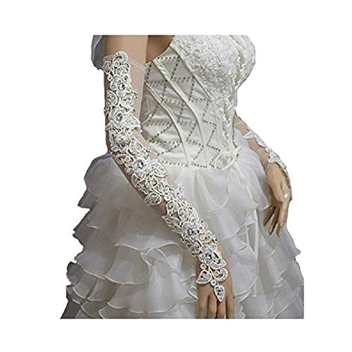 (WHZZ Womens Lace Fingerless Long Bridal Gloves For Wedding Party Beaded Rhinestone)