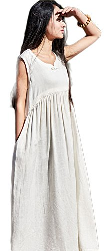 Soojun Women's Fashion Sleeveless Cotton Linen Long Dress White - Linen Fashion