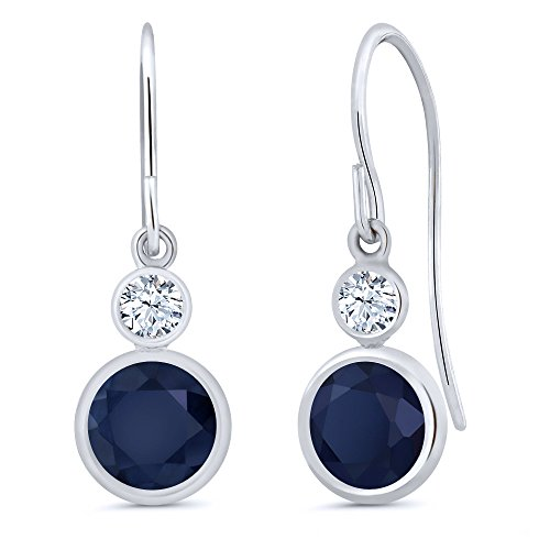 Gem Stone King 2.26 Ct Round Blue Sapphire White Created Sapphire 14K White Gold Earrings