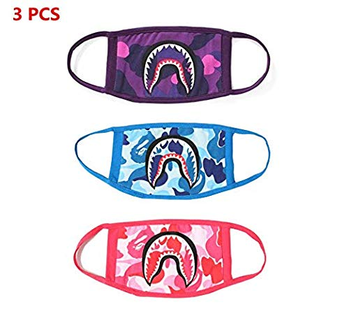 NF Orange 3 Pack Bathing Shark Hype Face Mask Camouflage Mouth-Muffle Masks New by NF orange