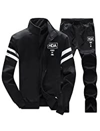 GRMO-Men Zipper Sweatshirt Coat Sweatpant Set Track Suit Activewear
