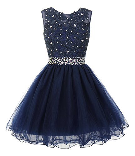 Mamilove Women's Tulle Short Applique Beading Formal Homecoming Cocktail Party Dress 4 Navy Blue (Formal Homecoming Dresses)