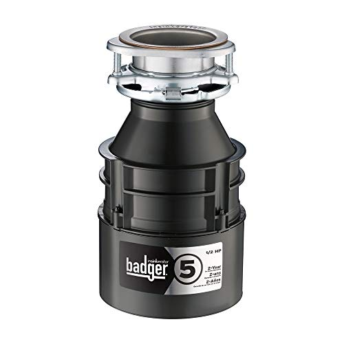 - InSinkErator Garbage Disposal, Badger 5, 1/2 HP Continuous Feed