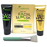 aimnaturals Charcoal Blackhead Remover Mask 120g + Gold Collagen Mask 120g + Brush applicator, huge quantity value pack to remove blackheads/ whiteheads with black mask and rejuvenate soft skin with Gold collagen mask