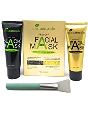 Charcoal Face Mask Blackhead Remover Mask 120g + Gold Collagen Mask 120g + Brush applicator, huge quantity value pack to remove blackheads/ whiteheads with black mask and rejuvenate soft skin with Gold Collagen mask - For Men & Women