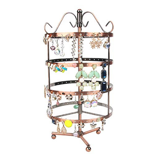Studs Spinning Jewelry (K-Cliffs 4 Tiers Earring Holder 360 Degree Rotating Jewelry Tower Table Top 72 Pairs Earrings Display Rack Spinning Ear Ring Organizer Necklace Hanger Stand Antique Copper)