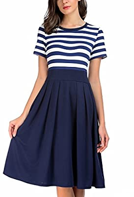 AAMILIFE Women's Vintage Stripe Scoop Neck Short Sleeve Swing Dress
