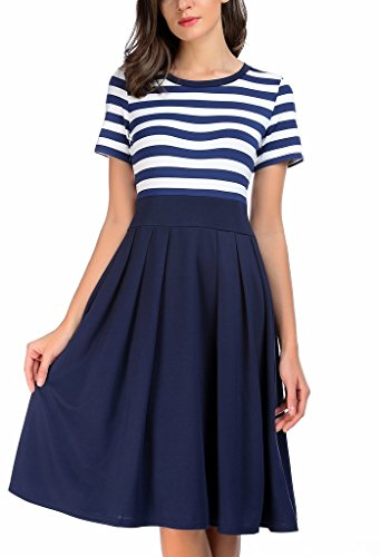 AAMILIFE Women's Stripe Scoop Neck Short 3/4 Long Sleeve Casual Swing Modest Dresses