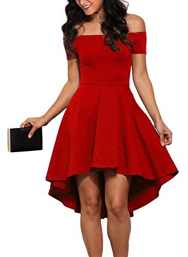 Sidefeel Women Off Shoulder Short Sleeve High Low Skater Dress XX-Large Bright Red (Plus Size Red Dresses)