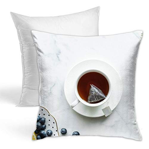 (Osvbs Tea in White Teacup with Saucer Creative Home Double-Sided Printed Cushion Decorative Pillowcase with Pillow Invisible Zipper 16.5