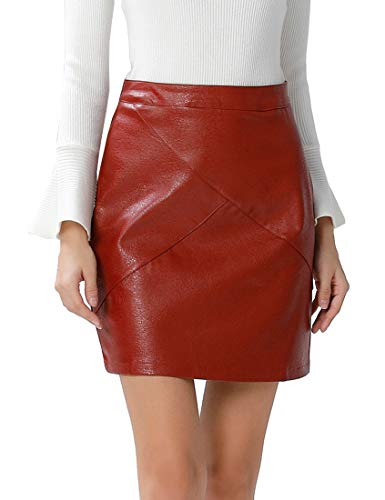 (GUANYY Women's Faux Leather Vintage High Waist Classic Slim Mini Pencil Skirt(Wine Red,XX-Large))