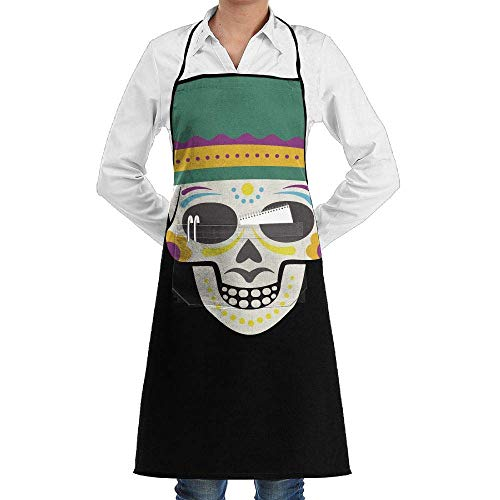 Yohafke Grill Aprons Kitchen Chef Bib Cool Halloween Skeleton Skull with Hat Kitchen Cooking Aprons with 2 Pockets for Women and Men-Adjustable Neck Strap Apron