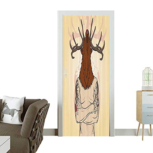 Door Sticker Wall Decals Hipster Man with Tattoos Wearing Reindeer Animal Mask celess Easy to Peel and StickW17.1 x H78.7 INCH
